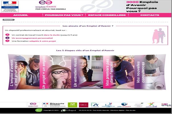Site Internet Emplois d'Avenir Picardie