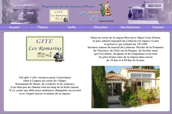 Site Internet : Gite Les Romarins